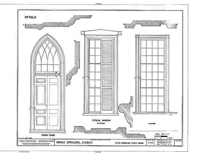 Detailzeichnung eines Kirchengebäudes.