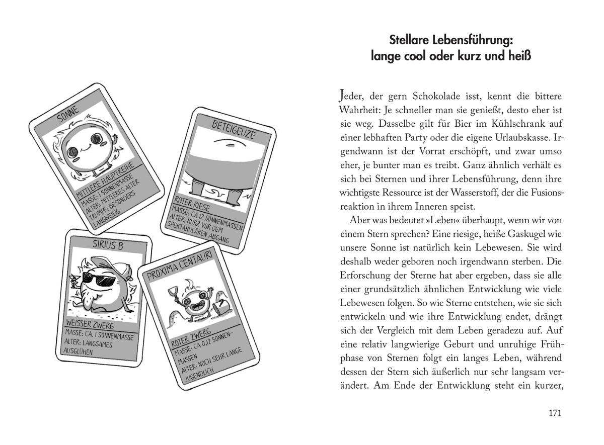 """Seite 170–171 aus """"Ich war noch niemals auf Saturn"""": Links eine Illustration, die verschiedene Arten von Sternen als Quartett-Karten zeigt. Rechts der Beginn des Kapitels """"Stellare Lebensführung""""."""