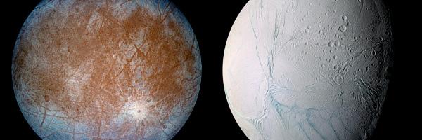 Zwei Planetenoberflächen, beide von Gräben zerfurcht.