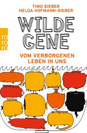 """Cover des Buchs """"Wilde Gene"""": Verspielte Schrift auf weißem Grund, darunter eckige, bunte gezeichnete Meereslebewesen."""